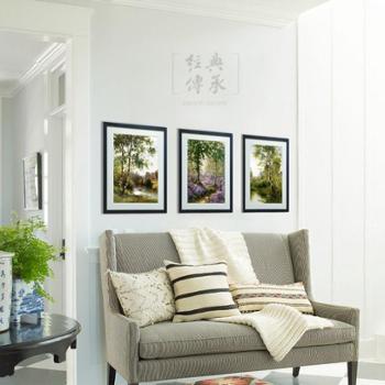进口装饰画三件套|办公室挂画进口风景装饰画有框画松宁附近的泰晤士河风信子森林|实木框配韩国卡纸32x42cm三幅G189
