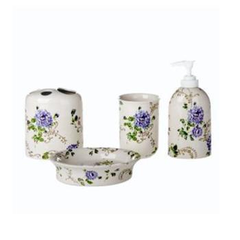 多样屋花园玫瑰陶瓷卫浴四件套-蓝