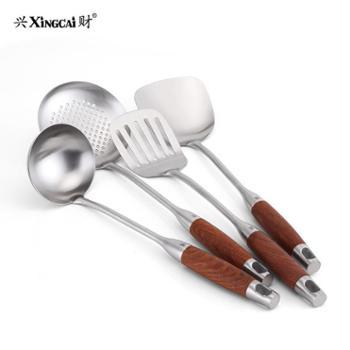 兴财304不锈钢炒菜铲长柄汤勺漏勺木柄加厚煎炒厨房铁铲子套装