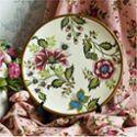 田园风格 创意手绘圆形陶瓷装饰盘展盘 时尚客厅工艺摆件带托架