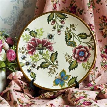 田园风格创意手绘圆形陶瓷装饰盘展盘时尚客厅工艺摆件带托架