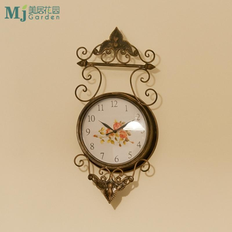 欧式地中海风格 古铜色创意时尚简约铁艺挂钟