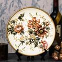 乡村田园风格 陶瓷 米黄底+花色 手绘 装饰盘 0Y0105BJ061