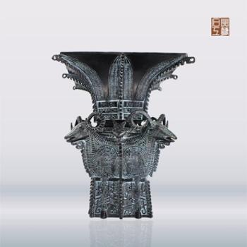 石开铜艺四羊方尊国宝名器仿制青铜器工艺品摆件摆设家居装饰品