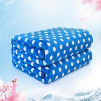 阿斯福特 法兰绒 珊瑚绒 空调毯 蓝色波点 100*150