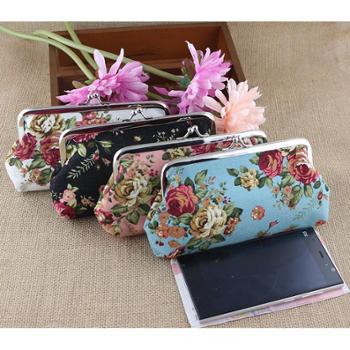 【橙屋】布艺女士钱包长款大玫瑰帆布零钱包单层手拿手机包超值