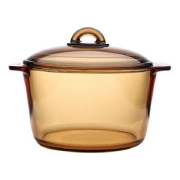 乐美雅(Luminarc)法国进口琥珀锅透明玻璃锅炖蒸煲煮焖锅双耳耐烧锅直烧锅汤锅3L【橙屋尚品人气】