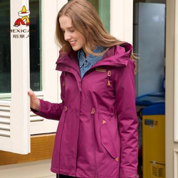 稻草人户外秋冬冲锋衣女加绒加厚修身潮牌中长款收腰显瘦保暖外套