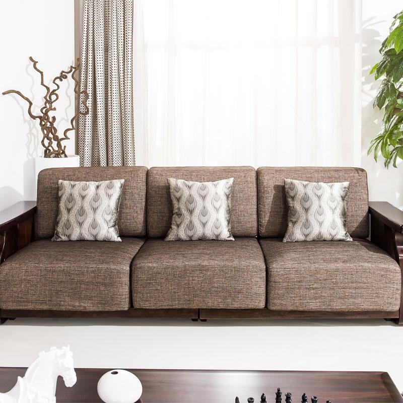 华日家居楠木系列四人沙发sfa1701m