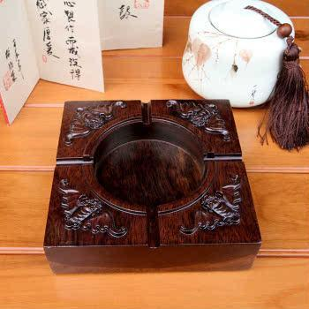 茶艺世家 黑檀木烟灰缸 实木四福烟灰缸创意 大号 CD-035