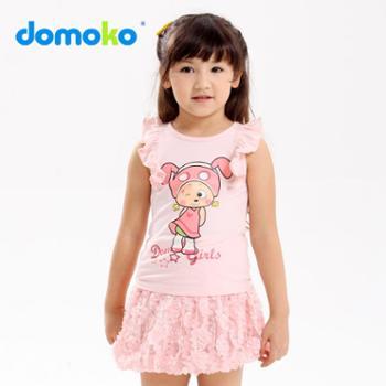 domoko大拇哥童装新款女童短袖T恤 卡通纯棉背心T恤女大童T恤衫
