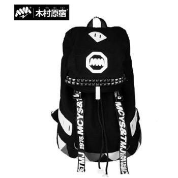 木村原宿 书包中学生双肩包街头潮流背包男女士韩版潮电脑包帆布