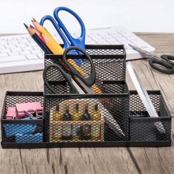 创意时尚网状圆形笔筒方形笔筒桌面笔桶收纳盒工具办公文具用品