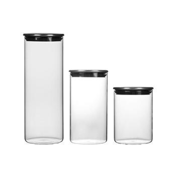 不锈钢盖高硼硅玻璃密封罐食品杂粮玻璃罐储物罐
