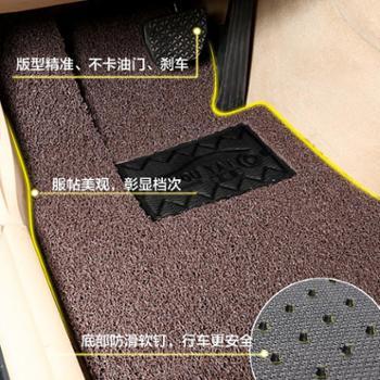 汽车脚垫通用款丝圈脚垫易清洗车垫车用脚踏垫子地毯式可裁剪双色14毫米