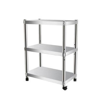 加厚不锈钢厨房置物架多功能菜盆架多层落地储物带轮厨房收纳架子