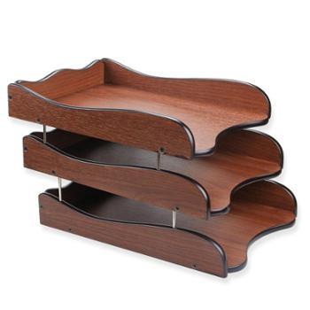 三层文件架子多层文件盘资料架可叠加创意桌面木质文件座办公室