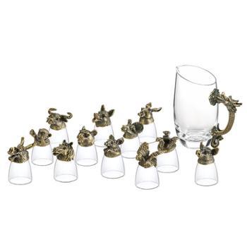 十二生肖白酒杯套装家用中式玻璃酒具小酒杯子弹一口杯12只分酒器