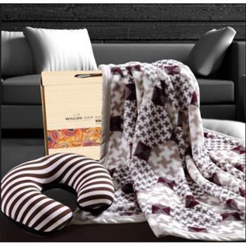 (颜色花色随机)华纳斯商务休闲套装法兰绒毯+U形枕HD2014-057