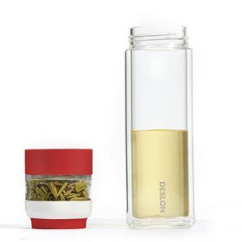 【佳博利】德世朗玻璃杯 杯身300ml+茶仓80ml 颜色随机 DQYB-300
