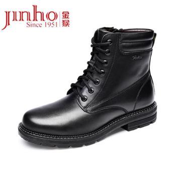 金猴新款冬季系带皮鞋英伦潮加绒加厚皮靴保暖马丁靴男鞋SQ80023A