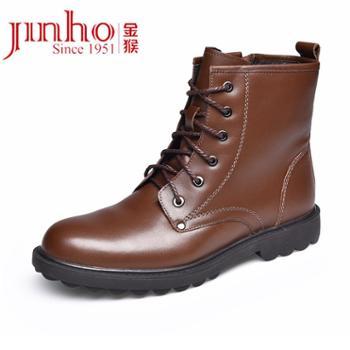 金猴男鞋冬季系带休闲男棉鞋牛皮加绒加厚保暖男靴短靴皮靴马丁靴SM8070