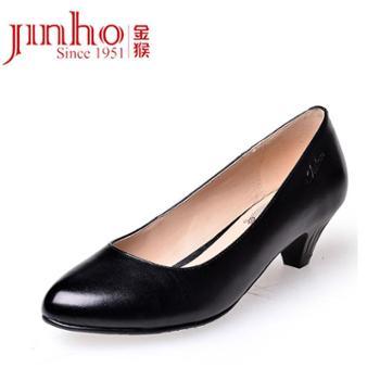 金猴Jihou款简约真皮舒适商务正装办公室套脚浅口低跟女士工装单鞋M50143