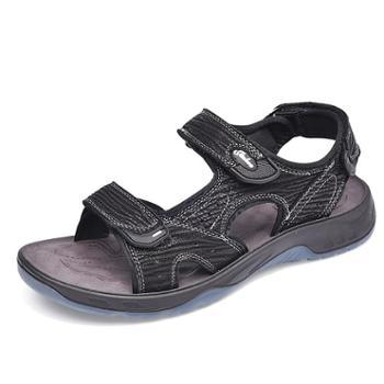 金猴沙滩鞋男休闲户外凉鞋牛皮透气运动防滑魔术贴轻便两穿露趾拖鞋Q98006