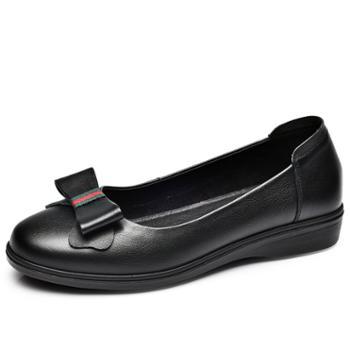 金猴(JINHOU)常规/镂空平底圆头浅口休闲职业工作鞋一脚蹬软底女鞋蝴蝶节孕妇学生妈妈奶奶鞋Q55048A/L、Q55048E
