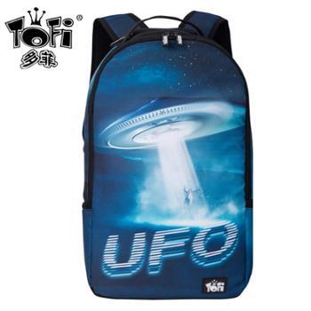 TOFI多菲 欧美新款UFO创意印花男女双肩背包 中学生潮流书包