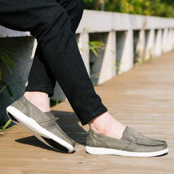 春夏季新款男士经典帆布鞋一脚蹬套脚懒人鞋 大码布鞋乐福男鞋SNT0078