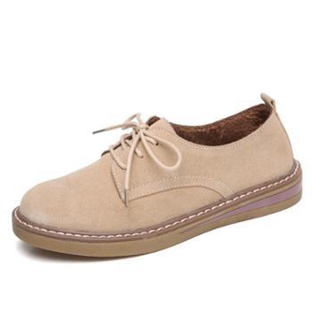 新款加绒保暖松糕女鞋 真皮磨砂反绒牛皮女休闲鞋 xxh898