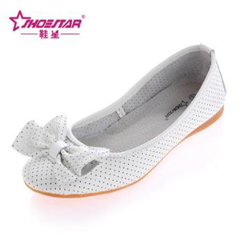 新款夏季女鞋 韩版蝴蝶结女凉鞋 真牛皮休闲鞋