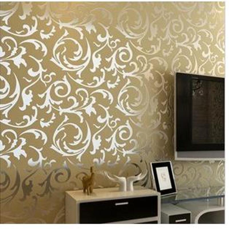 防水非自粘金黄色壁纸卧室客厅电视墙沙发背景墙纸