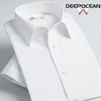 Deepocean深海夏季白色男士短袖衬衫商务休闲纯色系标准领男装衬衣