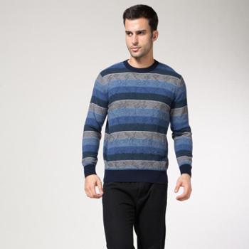 灵州雪100%纯山羊绒男士休闲低圆领羊绒衫