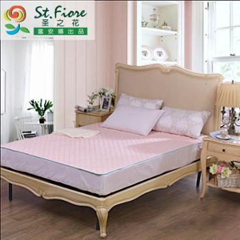 富安娜出品 圣之花床上用品 可拆洗床褥 芊雅印花保护床垫橡筋款