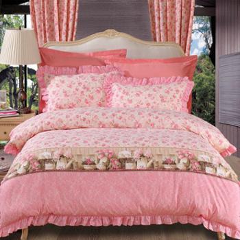 富安娜出品 馨而乐家纺 床上用品全棉印花四件套 爱的晨曲
