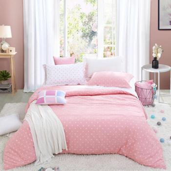 富安娜家纺全棉四件套纯棉床上用品简约床单被套玻璃球