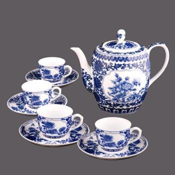 至正青花 缠枝莲满园富贵青花茶具组ZQH10-080 青花瓷茶具 茶具套装