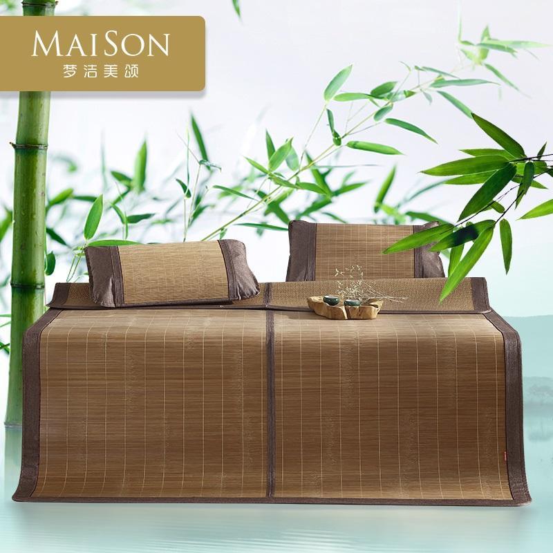 梦洁家纺美颂双面竹丝席三件套1.5/1.8m夏季天然可折叠凉席悠然