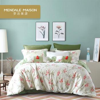 梦洁美颂纯棉新品印花简约花卉四件套床单被罩床上用品 梦里花开