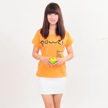 2013夏装新品 女韩版修身POWER正能量印花纯棉纯色短袖T恤 包邮