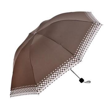 大地走红 三折大伞面印银粉格子雨伞 折叠伞 太阳伞 紫外线防晒太阳伞