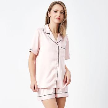 【电商款】好波女士薄款短袖仿丝两件套睡衣可外穿DJF1998