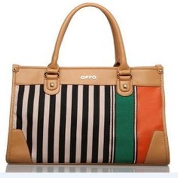 香港OPPO包包小包L0045-3优雅帆布拼接休闲女包 接头流行新款