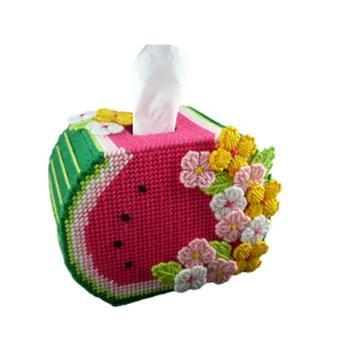 免裁剪DIY立体毛线绣十字绣彩色西瓜方形纸巾盒卷纸抽包邮