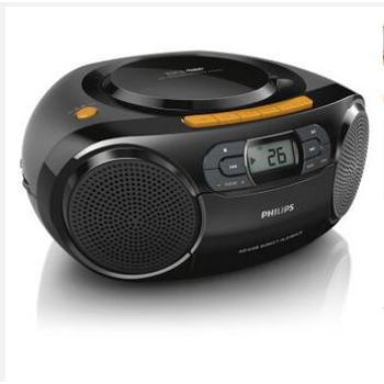 飞利浦(PHILIPS) AZ329/93 CD机 USB直播 SD卡播放 插卡音响 收音机 磁带机 收录机 便携音响 黑色