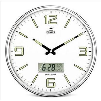 霸王(POWER) 15英寸夜光日历挂钟静音客厅办公表时钟创意石英钟 PW-H583 白色带夜光