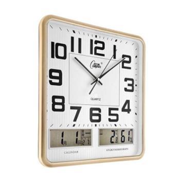 康巴丝(Compas)挂钟16英寸带日历双液显温度湿度静音石英钟表客厅卧室挂表C2983闪金